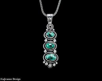 Trio - Blue Boy Mine Variscite Sterling Silver Necklace