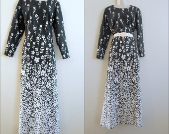 Vtg 1960s Hippie DRESS Long BLACK and White Ombre Floral ILGWU Union Made Label Size 14