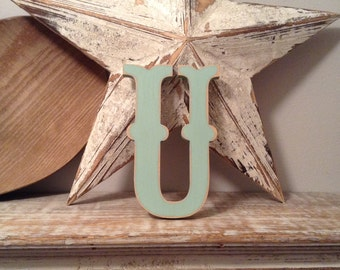 Painted Wooden Letter - Letter U - Circus Font - 40cm high, 16 inch, any colour, wall letter, wall decor, 18mm