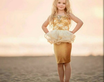 Gold girls peplum top and velvet pencil skirt. Couture pageant dress