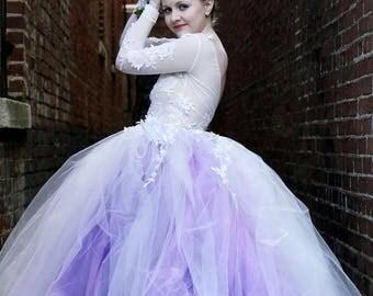 Wedding dress, long sleeve lace tutu dress, ivory and purple dress
