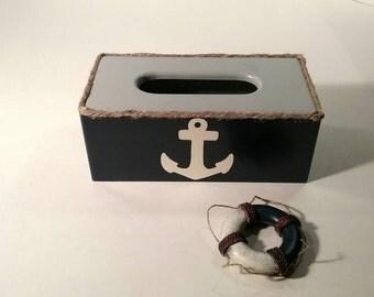 Nautical Tissue Box Cover - Nautical Tissue Box - Anchor Tissue Holder - Tissue Holder - Nautical Rope Tissue Holder - Nautical bathroom