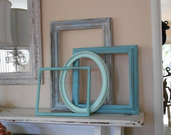 Shabby Chic Open Frame Gallery - Coastal Cottage Collection of 4 Vintage Frames -  Distressed Beach Inspired