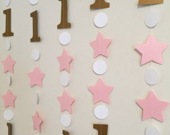 Twinkle Twinkle Little Star Birthday Decorations - Pink and Gold Star Banners- Twinkle Twinkle 1st birthday garland