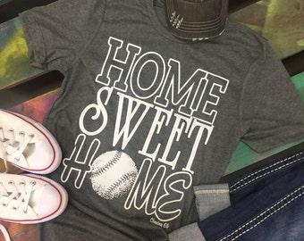 HOME SWEET HOME Baseball Softball Soft gray shirt T-Shirt Tee