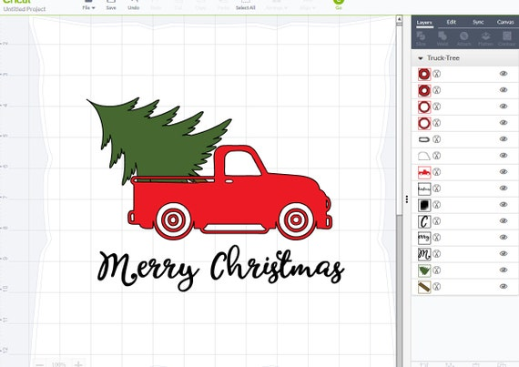 Vintage Truck Christmas tree delivery SVG dxf png pdf jpg ...