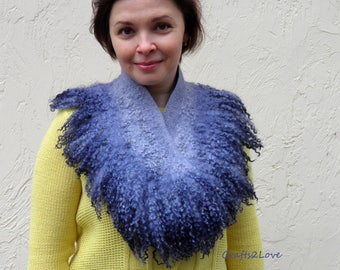 Felted collar Storm Cloud, Felted scarf, Wet felted neckwarmer, blue gray cowl, Pure wool, Australian merino, raw wool locks, felt fur