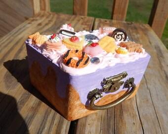 Small suitcase decoden box kawaii cake box jewelry trinket box purple cake