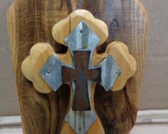 Reclaimed Barnwood Wooden Triple Cross plaque