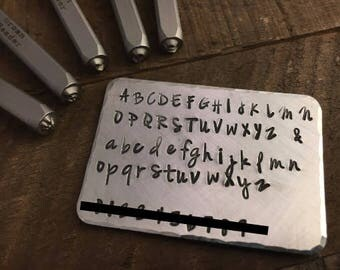 Discontinued! JENNA SUE Font, Urban Beader Jenna Sue Uppercase& Lowercase Metal Stamping Font, Alphabet Rated for Stainless Steel