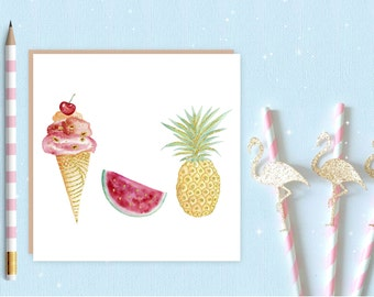 Summer trio Blank Greeting Card, greeting card, birthday card, ice-cream, tropical, watermelon, pineapple
