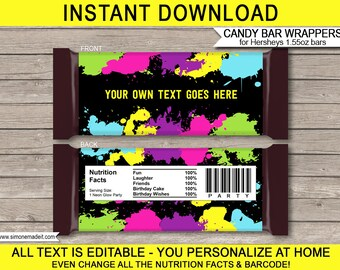 Neon Glow Theme Party - Candy Bar Wrappers - Party Favors - Chocolate Labels - INSTANT DOWNLOAD with EDITABLE text - you personalize at home