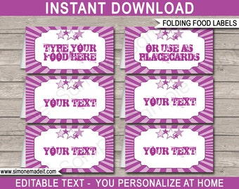 Rockstar Theme Food Labels - Rockstar Party - Purple - Food Buffet Tag - Printable Party Decorations - INSTANT DOWNLOAD - EDITABLE text