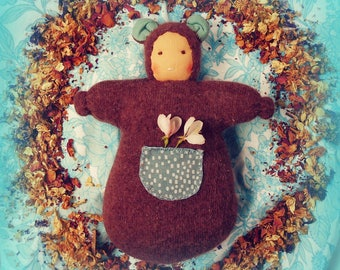 Cashmere and angora, tilda print, waldorf doll, brown bear snuggle pocket doll, all natural materials