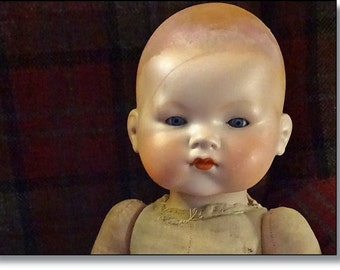 Large Armand Marseille Bisque Baby Doll, Closed Mouth, Mould Number 341.18, My Dream Baby, Original Mama Box Intact