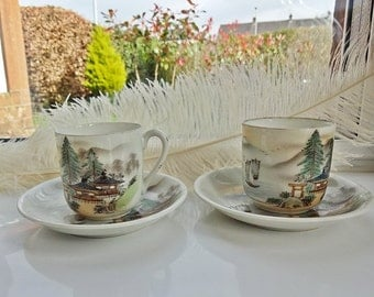 Japanese Tea Cups,Japanese Lithograph Cups & Saucers, Geisha Girls Cups, Egg Shell Porcelain, Japanese Ceramics, Vintage Cups and Saucers