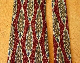 vintage 80s wide silk necktie rust tan navy leaf pattern omaggio robert talbott hand sewn Italy  free shipping