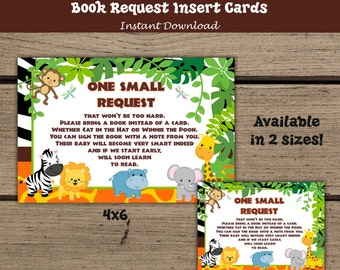 Baby Jungle Safari Book Request Cards, Jungle Animals Baby Shower, Invitation inserts, Book instead of a card, Birthday, Jungle Animals