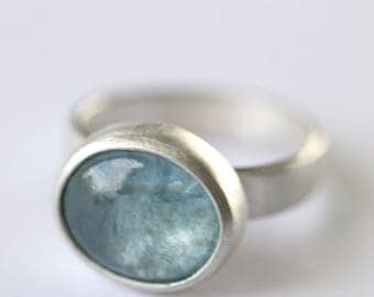 Silver and aquamarine ring. Handmade sterling silver aquamarine ring.