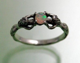 Two Mermaid Ring with Faceted Opal ~ Size 9 1/4 to 13