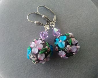Black and Purple Floral Lampwork Glass and Swarovski Crystal Earrings