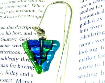 Dichroic Bookmark Silver Hook - Teal Turquoise Green Lime Blue Fused Glass