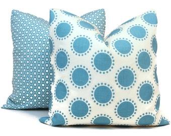 Schumacher Studio Bon Indoor Outdoor Aqua Oompa Pillow Cover, Square Lumbar or Eurosham, Schumacher