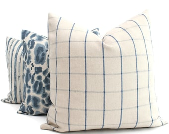 Blue Windowpane Check Decorative Pillow Cover, French Decor Pillow, Throw Pillow, Made to order size, Shabby Chic Plaid Pillow