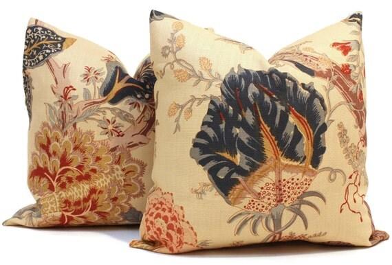 Red Tan And Brown Throw Pillows : Items similar to Schumacher Indian Arbre Tea Pillow Cover Lumbar, Blue Red Coral Tan Tan Floral ...