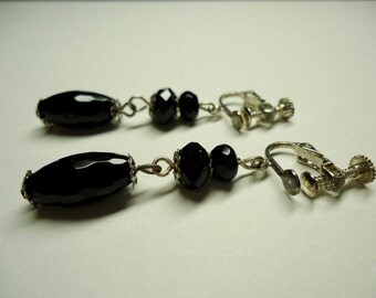 Earrings, Black Onyx Clip-On Earrings
