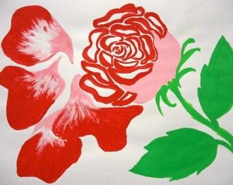 Artwork floral red rose watercolour