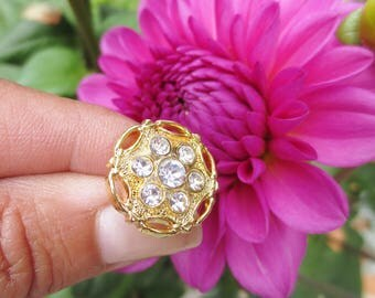 """Rhinestone Buttons Gold Shank 18mm,11/16"""" -24 pieces"""