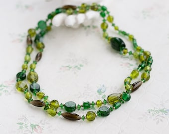 Green Glass Beads - Long Flapper Girl Necklace - Multi Strand - Vintage Boho Jewelry