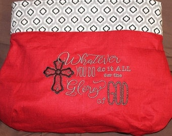 Give God the Glory Bag/Purse Red and Black - Ready to Ship
