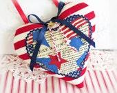 "Americana Heart, USA Patriotic, 5"" Door Hanger Heart Ornament, Red Ecru Blue, Heart Ornament Handmade CharlotteStyle Decorative Folk Art"