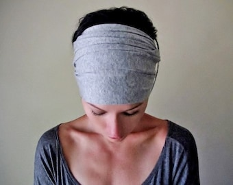 HEATHER GREY Head Scarf - Extra Wide Jersey Hair Wrap - Yoga Hair Accessory - Yoga Headband - Bohemian Headband - Boho Jersey Head Scarf