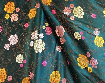 chinese retro vintage peony flowerdark green red tapestry satin silk brocade by  yard for stage cosplay