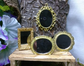 Wall Mirror Miniatures for Fairy Garden or Dollhouse