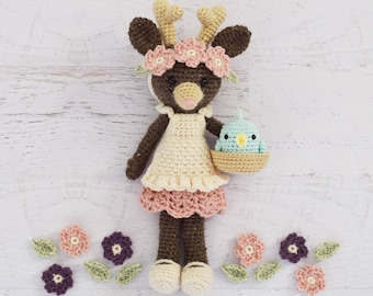 CROCHET PATTERN - Tessa Tulip - Deer Doll, stuffed toy, amigurumi, crochet deer pattern, stuffed toy animal, tutorial, PDF crochet patterns
