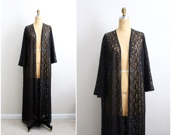 Vintage 70s Olga Nightgown Lace Black Robe/ Full Robe Slip/ Wedding Slip / Lace lingerie/ Bohemian Lace Robe