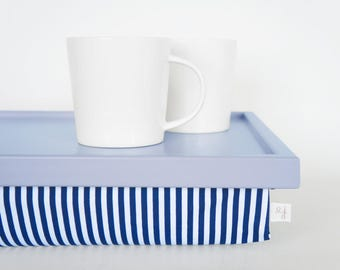 Blue Breakfast Serving Lap Tray with stried pillow, Laptop Lap Desk, stand- pastel blue tray with navy and white striped pillow