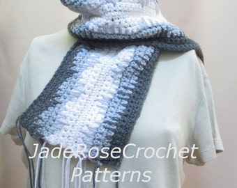 Crochet Scarf Pattern, Neutral Colors Crochet Scarf Pattern, Diamond Pattern Crochet Scarf, Unisex Crochet Scarf Pattern PDF239