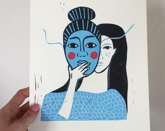 Masked Woman Limited Edition Reduction Print