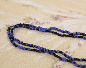 Long Black and Blue Seed Bead Necklace
