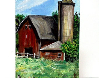"""Old Barn and Silo, Original acrylic painting 4"""" x 6"""" canvas sheet; small office art, wall decor, Landscape painting, Barn art, wall painting"""