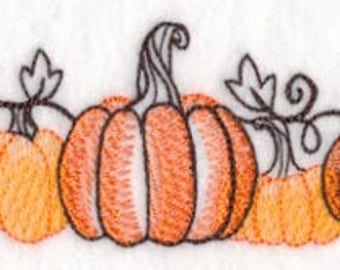 Toile Pumpkins Embroidered Flour Sack Hand/Dish Towel