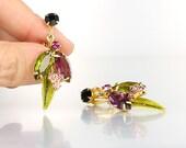 Juliana Earrings, Amethyst Peridot Green Rhinestone Earrings, Navette Rhinestone, Green enamel Leaf vintage jewelry