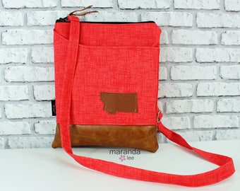 ZOE Messenger Cross Body Sling Bag - Coral Red with Montana Patch - with Outside Pocket and PU Leather READY to SHIp