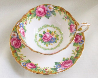Vintage Paragon Fancy Tapestry Rose Teacup Tea Cup Wide Mouth Footed Cottage Chic