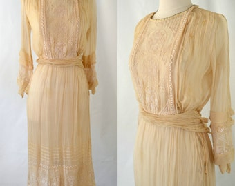 Antique Ivory Muslin Dress, Tea Dress, Gauzy Dress, Needs TLC, Spring, Summer